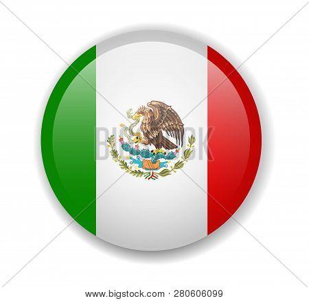 Mexico Flag Round Bright Icon On A White Background