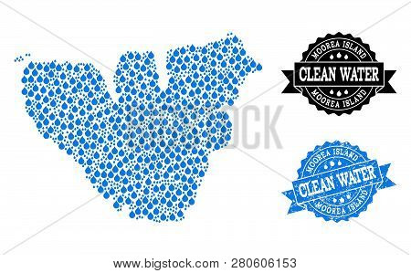 Map Of Moorea Island Vector Mosaic And Clean Water Grunge Stamp. Map Of Moorea Island Composed With
