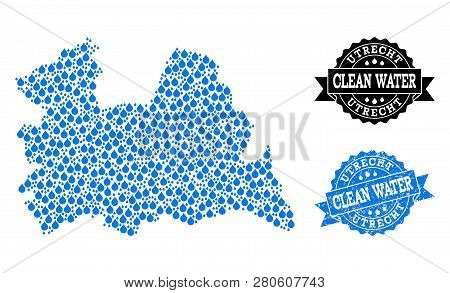 Map Of Utrecht Province Vector Mosaic And Clean Water Grunge Stamp. Map Of Utrecht Province Created