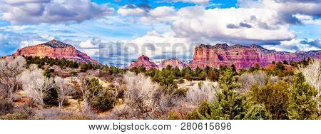 Panorama Of The Red Rock Mountains Around The City Of Sedona In Northern Arizona In Coconino Nationa
