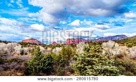 The Red Rock Mountains Around The City Of Sedona In Northern Arizona In Coconino National Forest In
