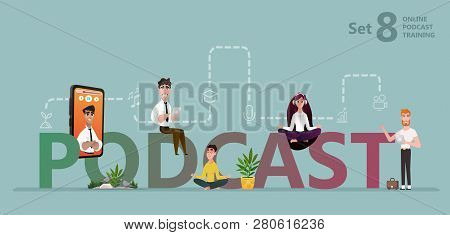 Podcast Concept Illustration. Students Watching Recorded Podcast Training With Professor Talking Fro