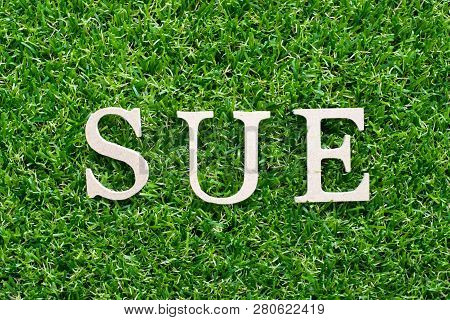 Wood Alphabet In Word Sue On Artificial Green Grass Background