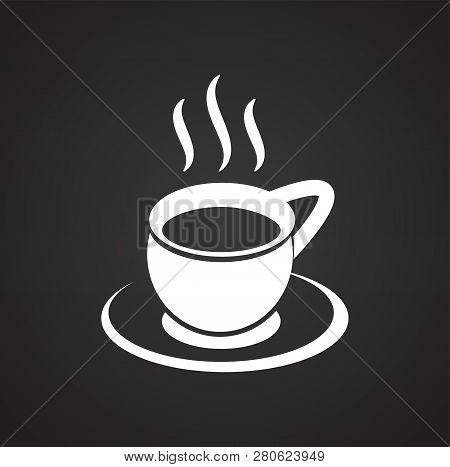 Cup With Hot Tea On Black Background Icon
