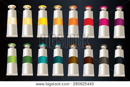 Set Of 16 Different Color Tempera In Vector Simple Style Illustration