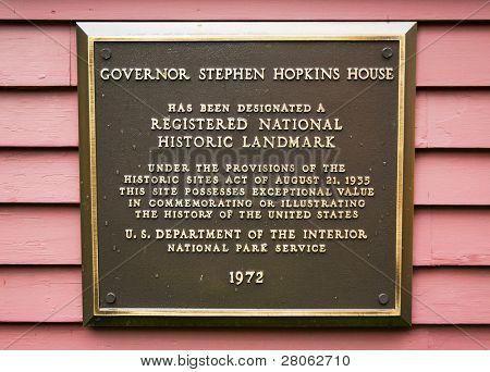 Governor Stephen Hopkins House and museum National Historic Landmark marker