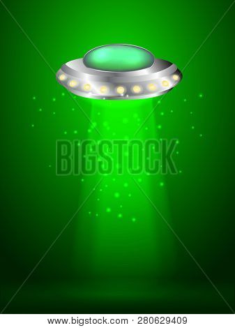 Flying Saucer With Ray Of Light. Vector Illustration.