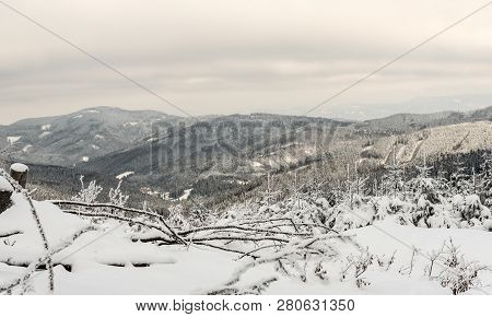 Winter Mountain Scenery With Hills Covered By Frozen Forest And Small Mountain Valley With Few House