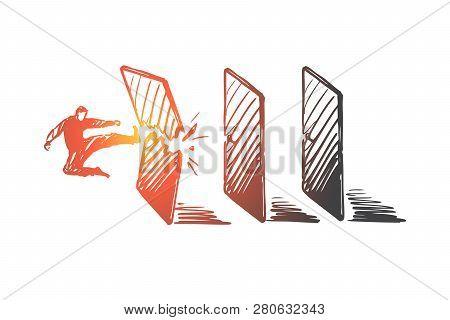 Achievement, Goal, Startup, Businessman, Success Concept. Hand Drawn Man Break Borders And Achieve A