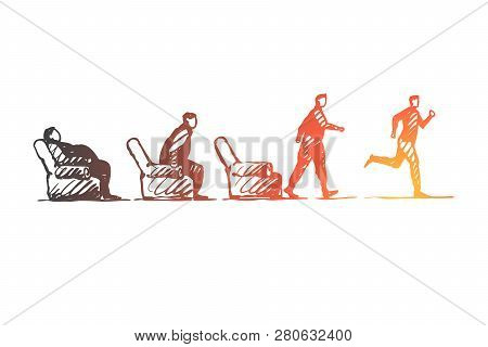 Motivation, Startup, Sport, Fitness, Run Concept. Hand Drawn Fat Lazy Person Stand Up And Run Concep