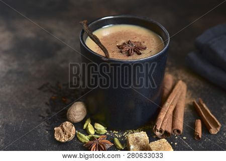 Traditional Indian Spicy Tea Masala With Milk.
