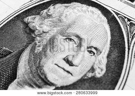 Us President George Washington Face Portrait On The Usa One Dollar Note. Macro Shot. Background Of T