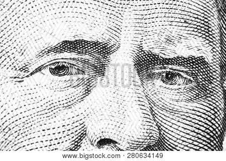 Close Up View Portrait Of Ulysses S. Grant On The One Fifty Dollar Bill. Background Of The Money. 50