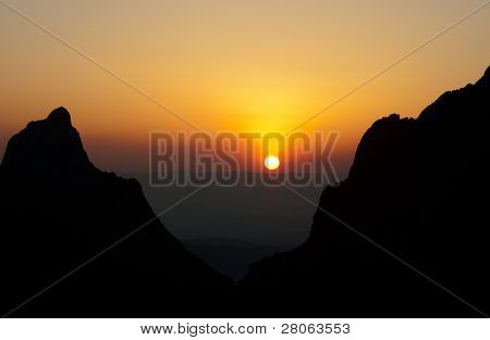 The Window at sunset in the Chisos Mountain Basin