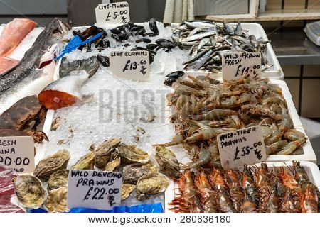 Clamms and crustaceans for sale at a market poster