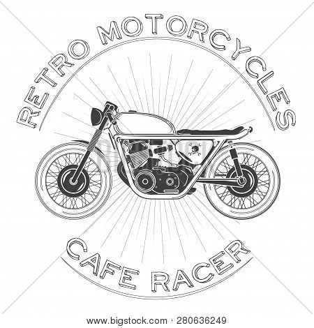 White Caferacer Logo. Retro Motorcycle. Vector Illustration. Cafe Racer Theme.