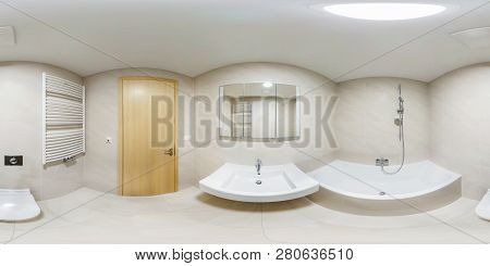 360 Panorama View In Modern White Empty Restroom Bathroom With Shower Cabin, Full 360 By 180 Degrees