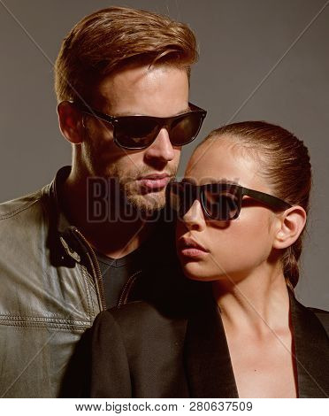 The Strongest Relationship. Couple In Love. Couple Of Man And Woman Wear Fashion Glasses. Love Relat