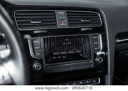Novosibirsk, Russia - January 25, 2019:  Volkswagen Golf,  Close-up Of The Dashboard And Player. Pho