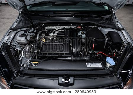 Novosibirsk, Russia - January 25, 2019:  Volkswagen Golf,   Close-up Of The Engine, Front View. Phot