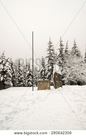 Memorial On Ivancena Bellow Lysa Hora Hill In Moravskoslezske Beskydy Mountains During Winter Day Wi