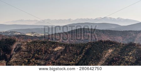 View To Tatra Mountains From Kikula Hill In Kysucke Beskydy Mountains On Slovakian-polish Borders Du