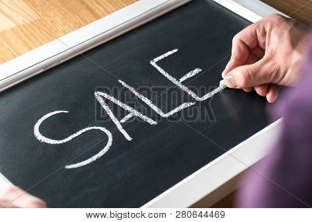 Sale Blackboard Banner In Store, Shop Or Marketplace To Promote Bargain Prices Or Clearance. Small B