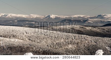 View To Beskid Slaski Mountains Between Male Skrzyczne And Barania Gora Hills In Poland From Lysa Ho