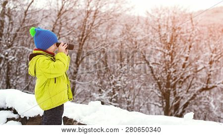 Little Explorer With Monocular At Winter Nature. Ute Kid Nature Explorer In Winter Forest. Winter Va