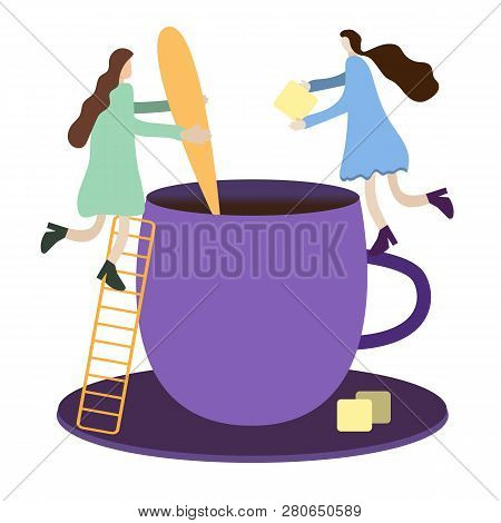 Tiny People Metaphor, Tiny People Make Tea In A Big Cup Of A Giant, Add Cane Sugars Stir It With A S