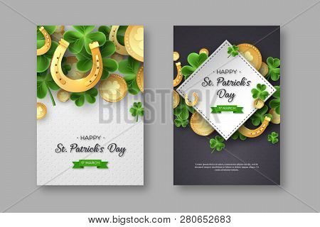 St. Patricks Day Posters. Clover Leaves, Golden Horseshoes And Coins On Spotted Background For Greet