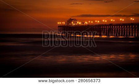 Long Exposure Night View Of The Oceanside Pier In Oceanside California