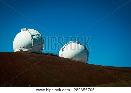 Space Observation Facilities Located At The Top Of Mauna Kea On Big Island Hawaii