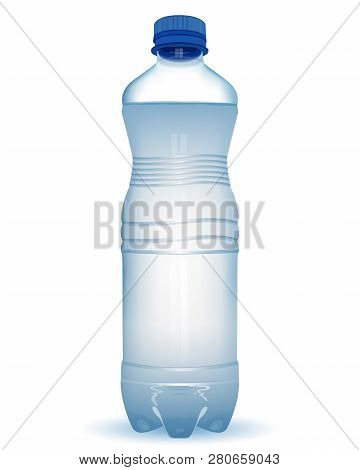 Realistic Plastic Bottle With Water With Close Blue Cap On White Background. Vector Illustration