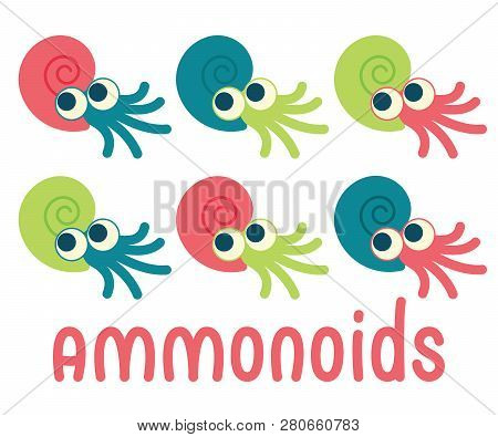 Cute Ammonoids. Vector Illustration Of Prehistoric Character In Flat Cartoon Style Isolated On White
