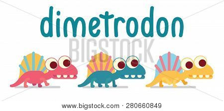 Cute Dimetrodon Walking. Animal Life. Vector Illustration Of Prehistoric Character In Flat Cartoon S