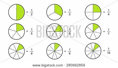 Fraction pie divided into slices. Fractions for website presentation cover poster Vector flat outline icon  isolated on white background.illustration poster