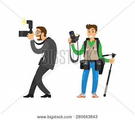 Photojournalist And Reporter Carrying Bag Or Backpack, Tripod For Camera Vector Illustrations Set. P