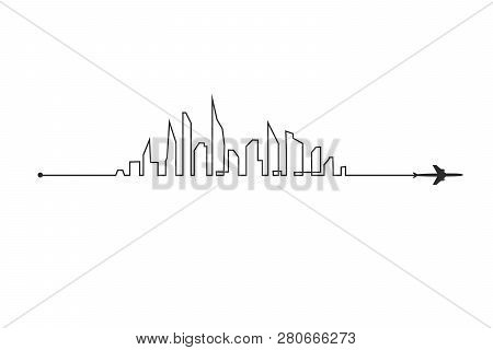 Plane And Its Track And Skyline On White Background. Vector Illustration. Aircraft Flight Path And I