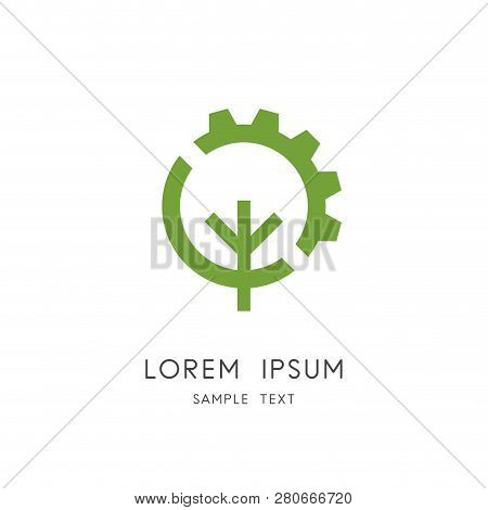 Tree And Gear Wheel Logo - Plant And Pinion Symbol. Green Power And Alternative Energy Source, Indus