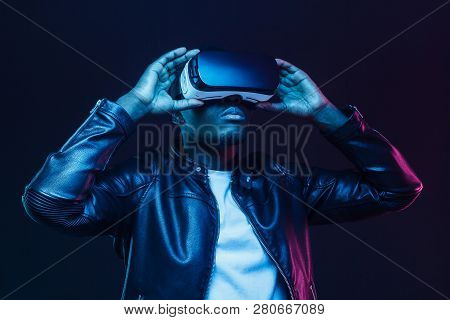 African American Man In Vr Glasses, Watching 360 Degree Video With Virtual Reality Headset Isolated