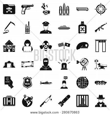 Antiterrorist Struggle Icons Set. Simple Style Of 36 Antiterrorist Struggle Icons For Web Isolated O