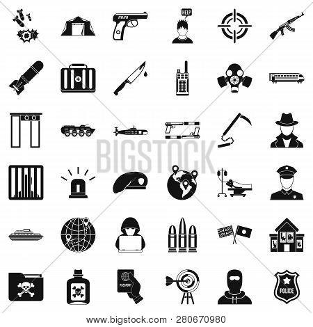 Antiterrorist Organization Icons Set. Simple Style Of 36 Antiterrorist Organization Icons For Web Is