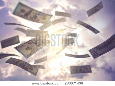 Raining Money From The Sky, American Dollar Bills Falling Everywhere. Concept Of Wealth, Making Easy