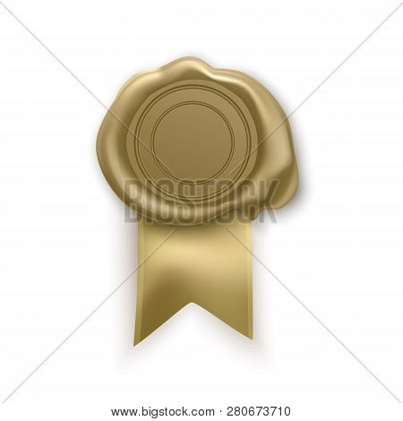 Retro And Old Seal Wax Stamp Of Golden Color. Isolated Stamp For Certificate And Document, Letter, E