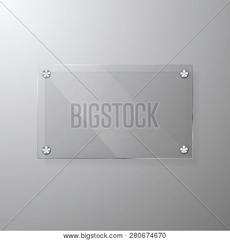 Vector Modern Glassy Signage Template With Space For Message. Clear Acrylic Signboard Design Mock Up