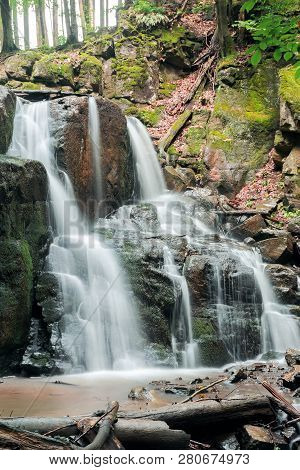 Beautiful Two Cascaded Waterfall Among The Forest. Wonderful Nature Scenery In Spring Or Summer. Fal