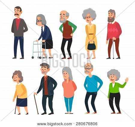 Old Cartoon Seniors. Aged People, Wrinkled Senior Grandfather And Walking Grandmother With Gray Hair