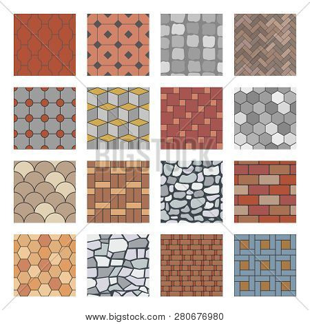 Paving Stone Pattern. Brick Paver Walkway, Rock Stones Slab And Street Pavement Floor Block Seamless