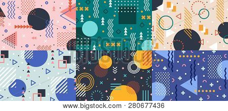 Memphis Geometry Background. Colorful Shapes Pattern, Vivid Coloring Texture And Funky Color Pattern